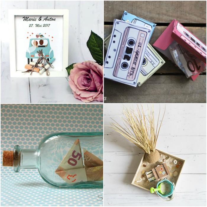 Vier kreative Ideen für Geldgeschenke verpacken, in Glasflasche, in Kassetten aus Karton, am Auto befestigt, im Koffer aus Karton