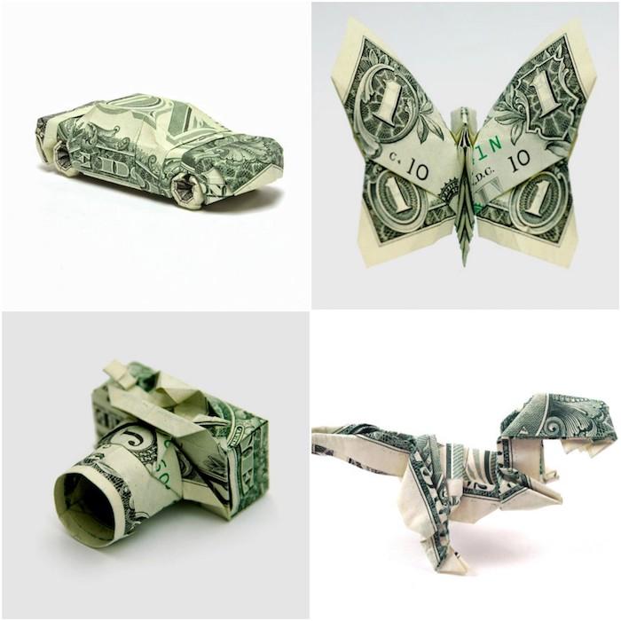 Geld falten, vier originelle Origami Ideen, Auto Schmetterling Fotoapparat und Dinosaurier aus Geldscheinen
