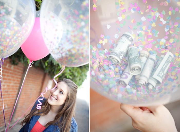 Ballons mit Geldscheinen und Confetti füllen, originelles Geldgeschenk selber machen