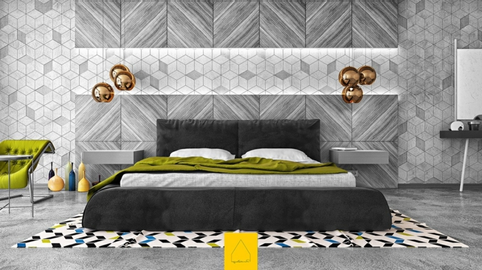 sechs Lampen mit gerundeter Form, grüne Bettdecke, bunter Teppich