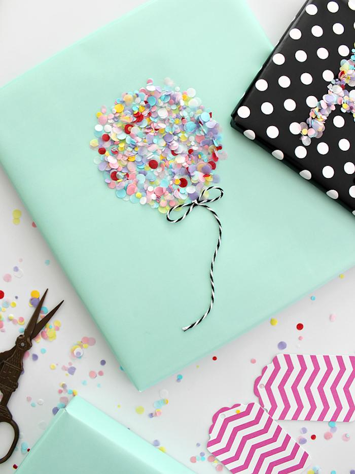 Originelle Idee für Geschenkverpackung, Luftballon aus bunten Pailletten