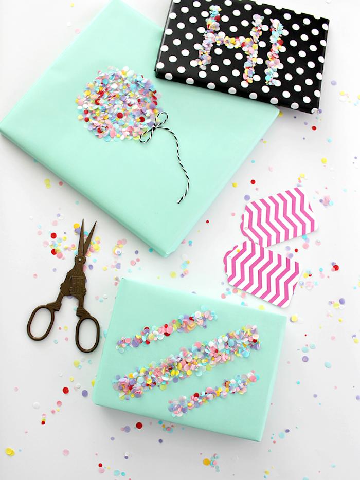 Kreative Ideen für Geschenkverpackungen, Ballon und Aufschrift HI aus bunten Pailletten