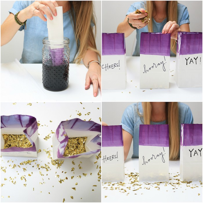 Geschenkverpackung selber basteln, mit rosa Farbe bemalen, mit Confetti füllen
