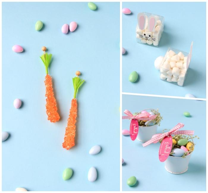 geschenke basteln, karotten aus zuckerbonbons, kleine bunte eier, ostergeschenke für kinder