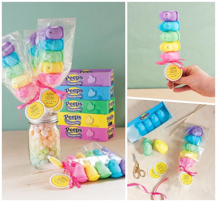 geschenke selber basteln zum ostern, bunte marshmallos bonbons, einamchglas geflüllt mit leckereien