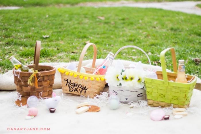 selbstegemachte körbchen, geschenke selber machen zum ostern, picknick machen