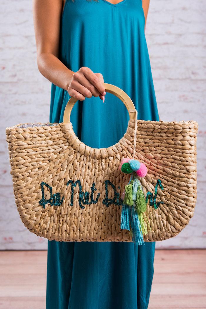 Rattan-Tasche mit Aufschrift aus blauen Pailletten, Hochzeitsgeschenk für die Flitterwochen, Do Not Disturb