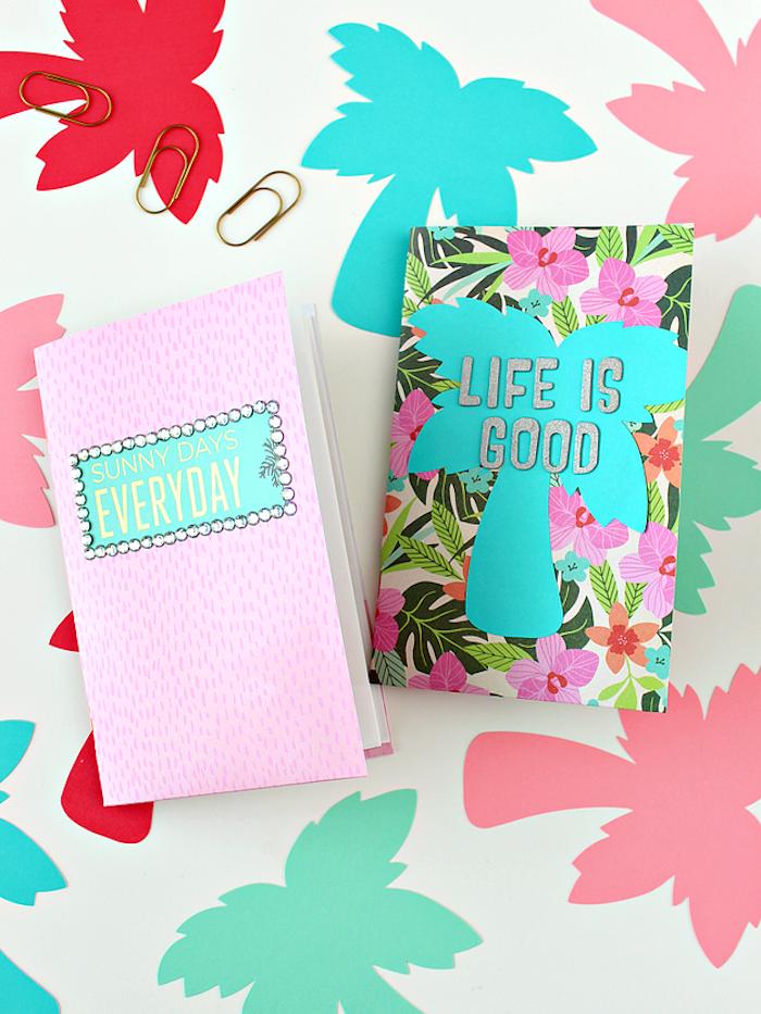Scrapbook selbst gestalten, mit Aufschrift Life Is Good Blumen und Palmen