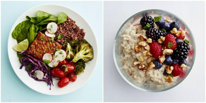 wie kann man schnell abnehmen, rezepte für ausgewogene ernährung, frühstück, mittagessen,haferflocken, brokkoli
