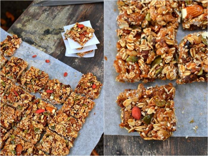 müsliriegel selber machen kalorienarm, ideen zum hausgebackten snacks
