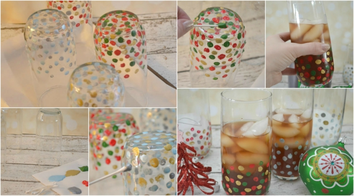 Collage mit Anleitung wie Sie mit Flecken Glas bemalen, mit Saft danach füllen