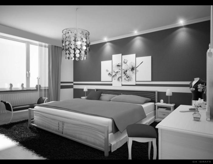 Schlafzimmer Farbe Grau, ein graues Bild von Blumen, indirekte Beleuchtung