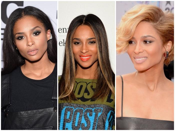 haare färben, ciara, trendige frisuren für frauen, braune haare mit blonden strähnen, blond, lockig, kurzhaarfrisur