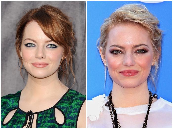 haare färben, ema stone, hochsteckfrisuren, make up für blaue augen, rote haare blond färben