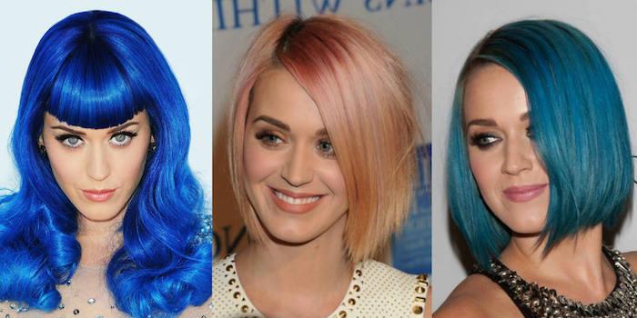 haare färben, katty perry, dunkeblaue haare, ponyfrisur, rose goldene haarfarbe, türkis, haarfarbe wechseln