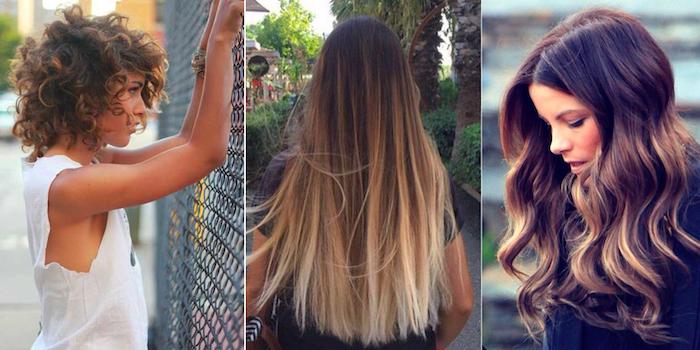 ombre haare oder balayage effekte beim braunen haar, drei bilder zum inspirieren, lockige haare, glattes haar