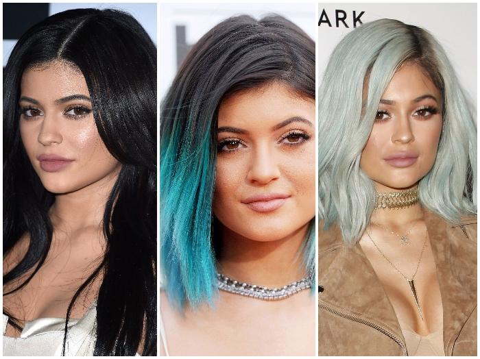 haare färben, schwarze haare mit türkisfarbenen spitzen, ombre, mintfarbene haare, trendige haarfarben