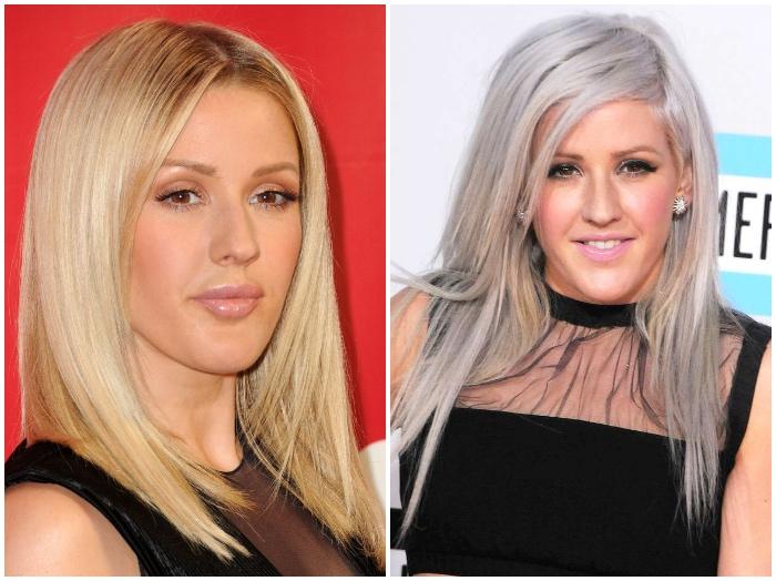haare grau färben, ellie goulding, glatte blonde haare mit dunkelm ansatz, silbernes haar