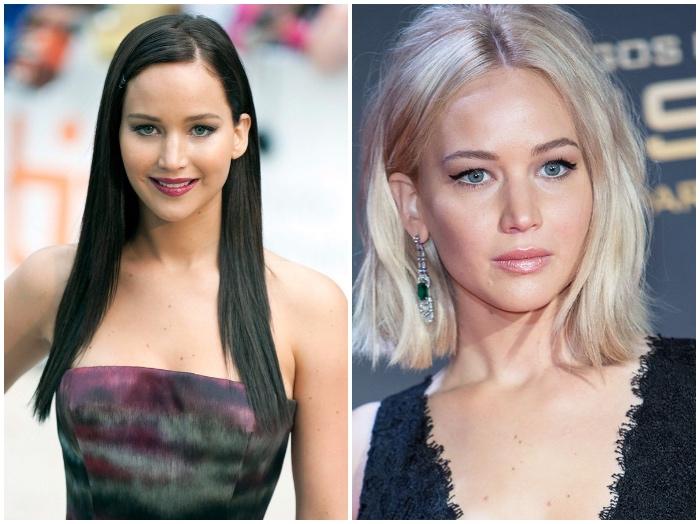 haare grau färben, schwarze glatte haare, schulterlang, trendige haarschnitte, haarfarbe wechseln