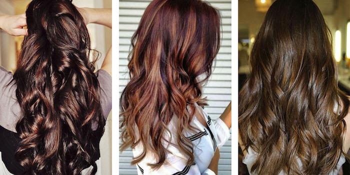 haare tönen, frisur mit locken, trendige frisuren, rote haare mit blonden strähnen, natürliche haarfarbe