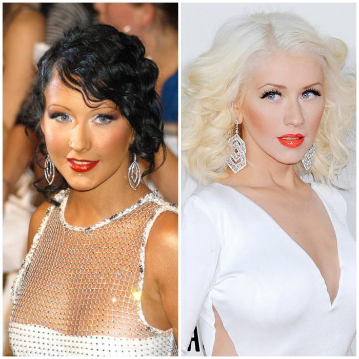 haare weiß färben, christina aguilera, schwarze haare blondieren, große silberne ohrringe, abend make up
