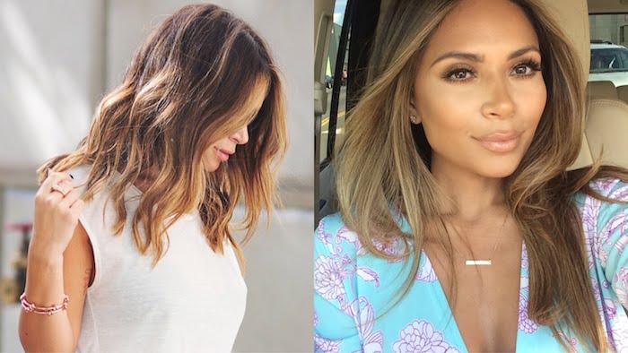 balayage kurze haare oder langes haar, schöne damenstylings, weiße bluse, blaues hemd mit lila deko