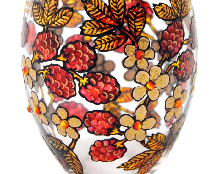 kleine Früchte, kleine Blüten, Vase malen, eine herrliche Malerei in Detail