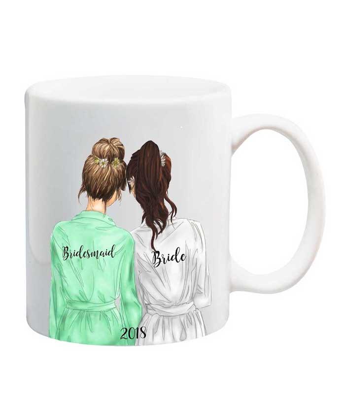 Schönes Geschenk von der Brautjungfer für die Braut, weiße Tasse mit Illustration
