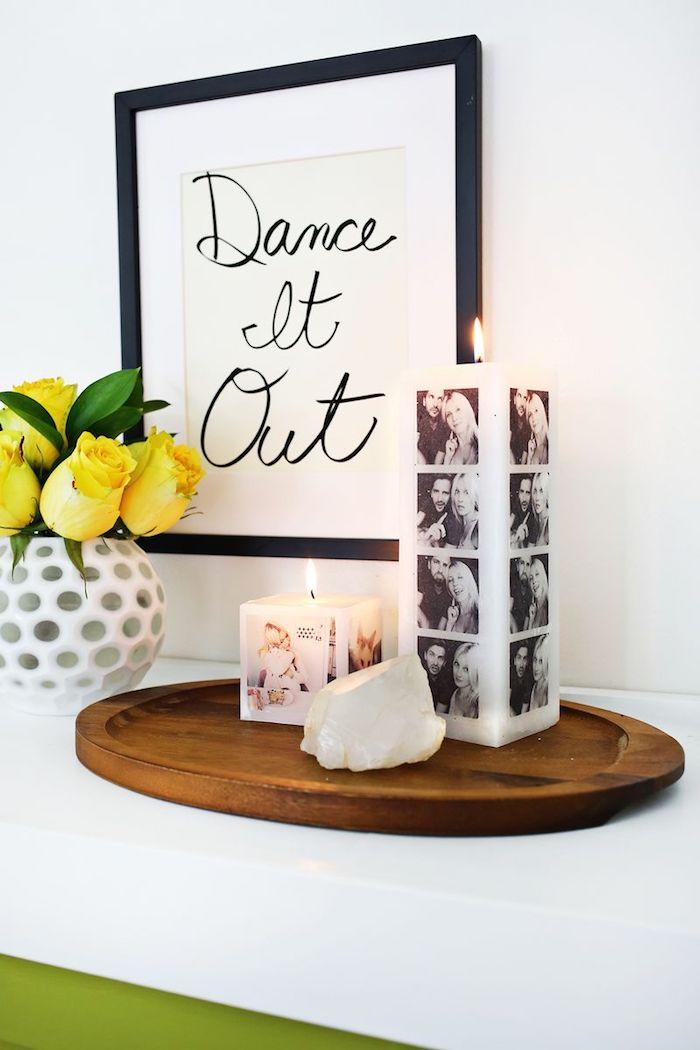 Kerze mit Fotos selber machen, personalisiertes Geschenk für Hochzeit, Bilder des Brautpaars