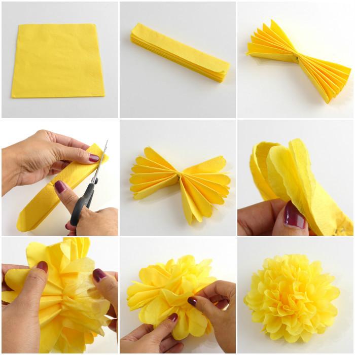 Papierblumen selber basteln, DIY Anleitung in neun Schriften, gelbe Blüten für Hochzeit