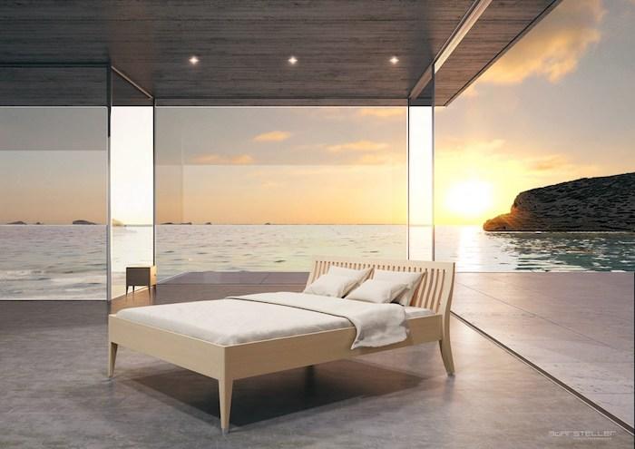 Schlafzimmer mit Meeresaussicht, Holzbett mit weißer Bettwäsche, schöner Sonnenuntergang