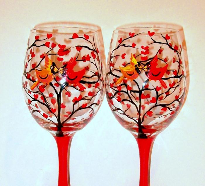 zwei Vögel, die sich küssen auf einem Baum mit orangen Blüten, Glas malen