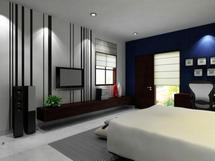 Wandfarbe Hellgrau, Deckenleuchte, Ein Kleiner Fernseher, Ein Weißes Bett