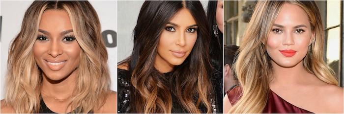collage von bildern von berühmten persönlichkeiten, damen, balayage braun, kim kardashian in der mitte