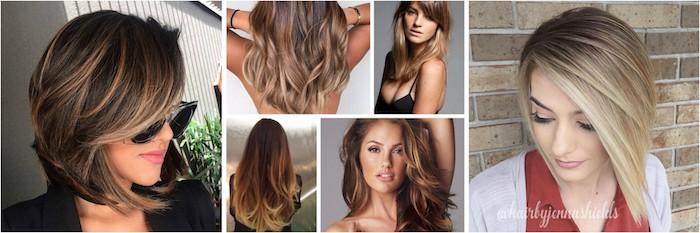 kurze oder lange haare mit balayage, bob frisur, balayage braun ideen, stilvolle haare