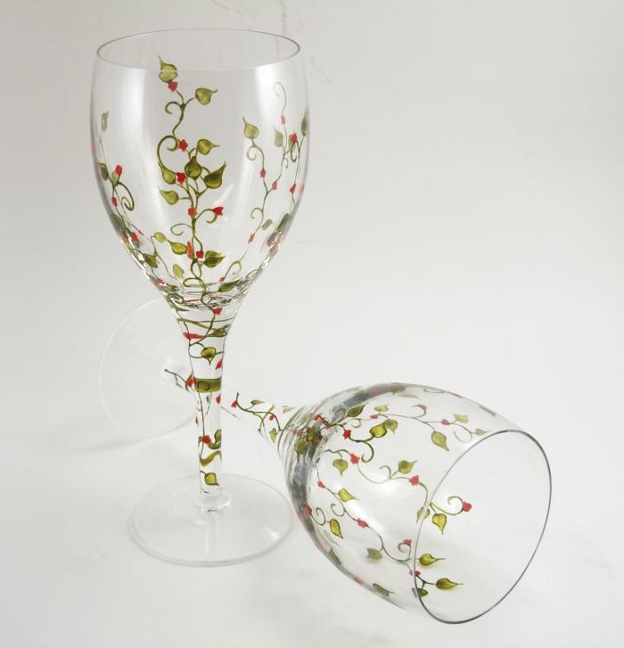 Acrylfarbe auf Glas, zartliche grüne Blätter, kleine rote Blüte, Geschenk zur Hochzeit