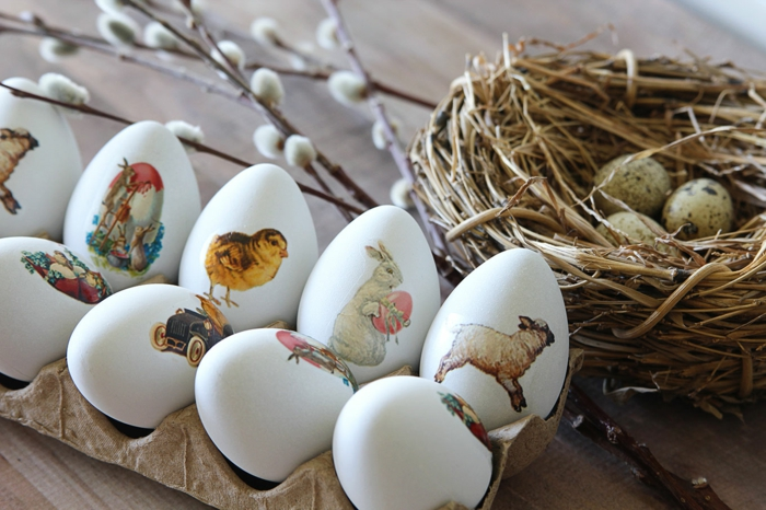 weiße Eier mit temporalem Tattoo dekorieren, Ostereierfarbe, Ostermotive
