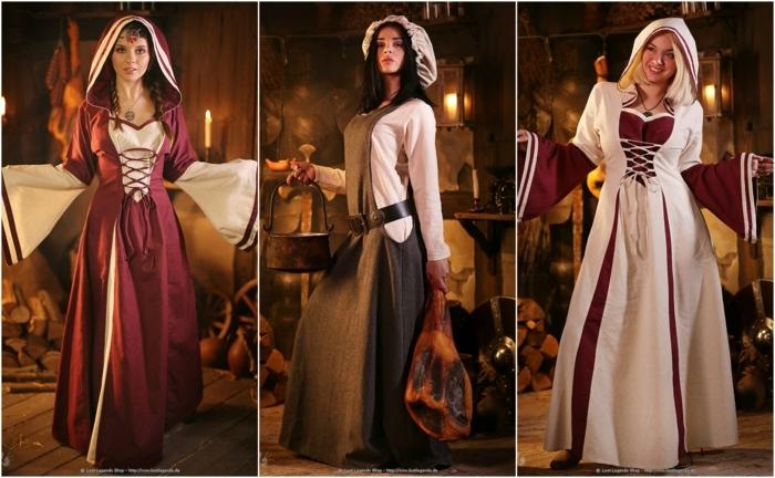 LARP - drei herrliche Mittelalterkleider von Modelle, zwei Prinzessinnen und ein Magd