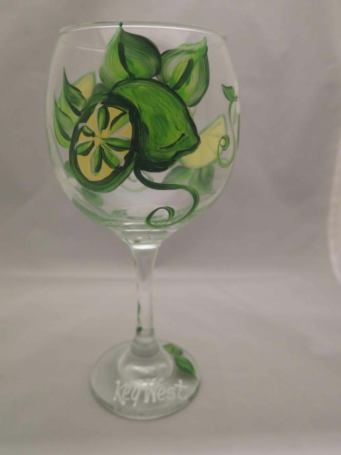 Limette in grüner Farbe, verschiedene Stücke, Key West Glas, Acrylfarbe auf Glas