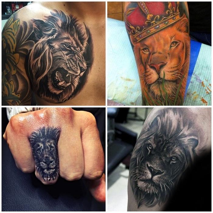 löwe tattoo finger, große tätowierung an der brust, farbiges tattoo am oberschenkel, löwe mit krone