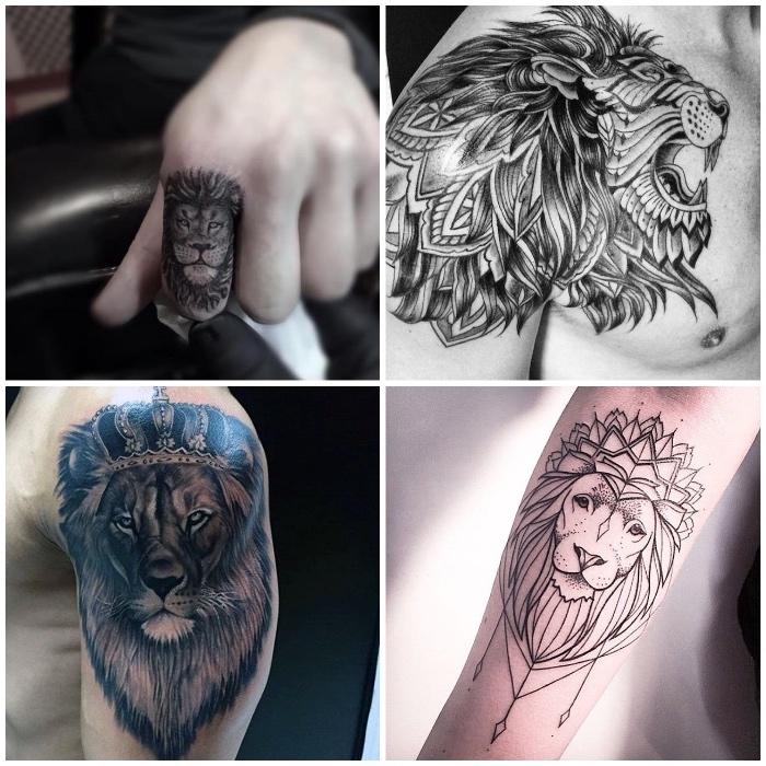 löwe tattoo finger, löwenkopf in kombination mit geometrischen motiven, mandala, löwe mit krone