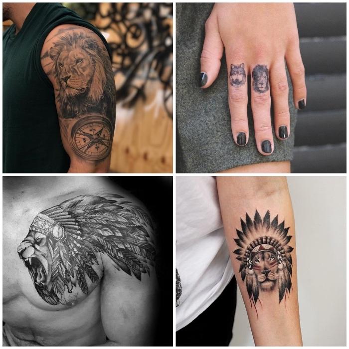 löwe tattoo finger, realitische tätowierung am oberarm, löwe mit indianer kopfschmuck, wolf