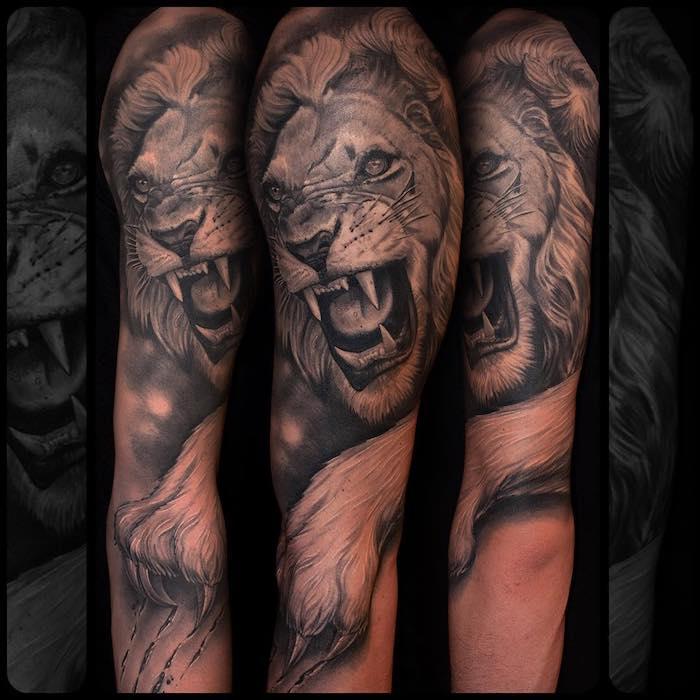 unterarm tattoo frau löwe