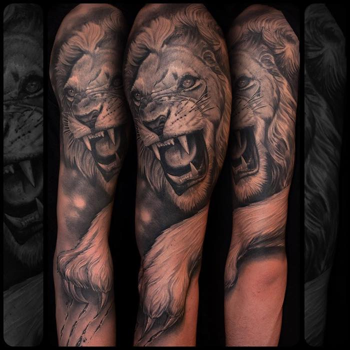 großes realsitisches löwen tattoo am arm, 3d-tätowierung am unterarm, mann