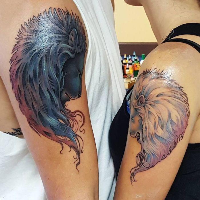 löwenkopf tattoo am oberarm, tattoo-motive für paare, mann und frau mit gleichen tätowierungen