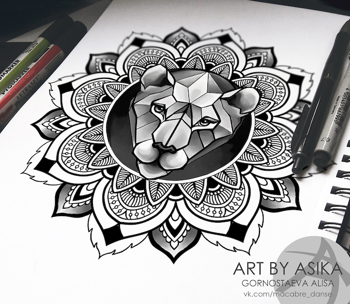 löwenkopf zeichnung in kombination mit mandala motiven, tattoo vorlage zeichnen, löwin