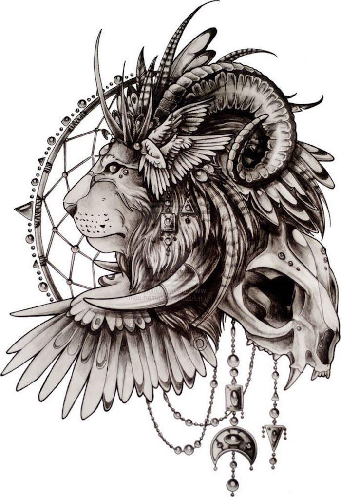 löwenkopf zeichnung, tattoo-vorlage, löwe in kombination mit hörner, schädel, flügel und traumfänger