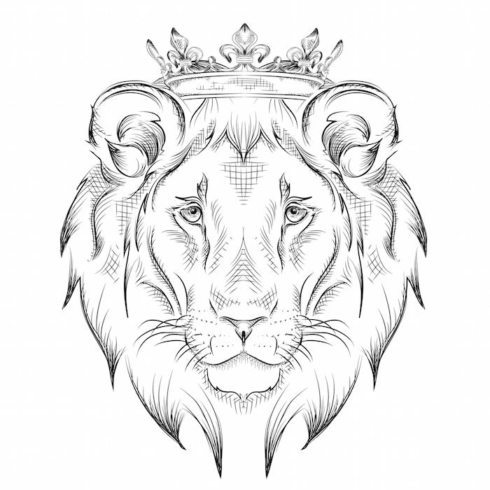 löwenkopf zeichnung, löwe mit krone, tattoo-vorlage zeichnen, löwe malen