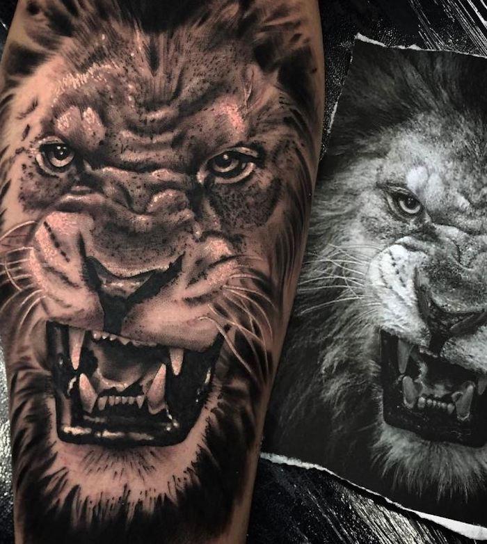 löwenkopf zeichnung, tattoo-vorlage, realitische 3d-tätowierung in schwarz und grau