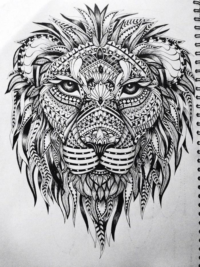 löwenkopf zeichnung, löwenkopf mit mandala elementen, mandala tattoo-vorlage